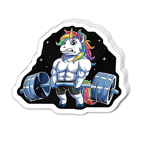 Uitee Store Cool Sticker (3 pcs/Pack,3x4 inch) Muscle Unicorn and Weightlifting Stickers for Water Bottles,Laptop,Phone,Teachers,Hydro Flasks,Car