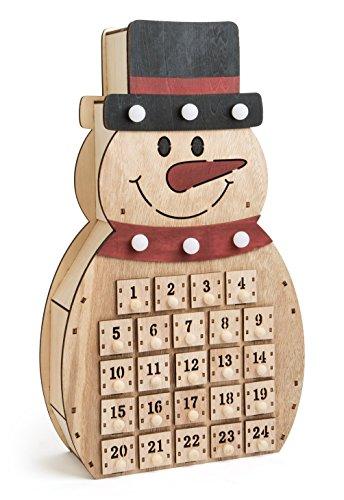 'LD decorazioni di Natale LED Calendario dell' Avvento 'Pupazzo di neve in legno per bambini Natale Calendario stesso riempimento
