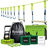 Ninja Obstacle Course Line Kit 40' Slackline 8 Hanging Obstacles with Adjustable Buckles Tree Protectors Carry Bag Capacity 300lbs Outdoor Backyard Fun for Ninja Warrior Kids Adults Family