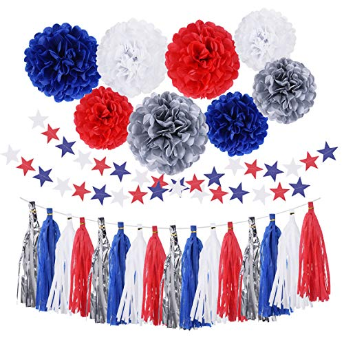4th of July Party Supplies Decorations Tissue Blue Red Silver Patriotic Tassel Garland Party Photo...