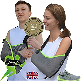 Arm Support, Shoulder Sling (Lime Trim) ONE-Size, Big Enough for The Largest arm, Reduces for Youngsters. Luxuriously Soft-Stretch, Light Airflow, Contours arm. Reversible L/R fit. Unisex.:Elektrikmalzemeleri