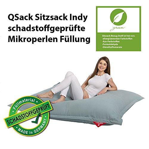 QSack Sitzsack Indy, mit Inlett und schadstoffgefprüfte EPS Toxproof Mikroperlen, 140x180 cm Indoor Sitzsack XXL, Neu (blaugrau)