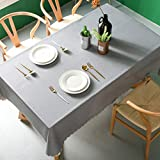 Pahajim Moderno Mantel de PVC Color Liso Mantel Impermeable Mantel Mesa Rectangular Antimanchas Tablecloths para (Gris, Rectangular/Oval,140x220cm,6-8 Asientos)