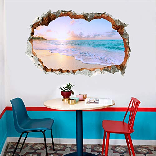 Strand Fototapete Strand Fenster 3D Look Wandtattoo 40 cm x 60 cm Wanddurchbruch Wandbild Sticker Aufkleber Removable Decals Vinyl Art Wandaufkleber Wandtattoos