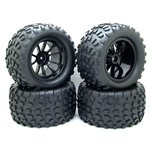 4X RC 1/10 Scale Car Monster Truck Type Tires Gravel w/ 5 Spokes Wheel Rim Black RC Parts