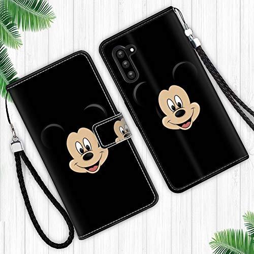 DISNEY COLLECTION Funda tipo cartera para Samsung Galaxy Note 10, diseño de Mickey Mouse, con diseño de caricatura, cierre magnético, función atril, correa de muñeca