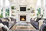 YEELE 7x5ft Living Room Interior Backdrop Fireplace Modern Sofa in White Home Photography Background Luxury Home and House Design Room Decoration Kids Adults Portrait Photoshoot Studio Props
