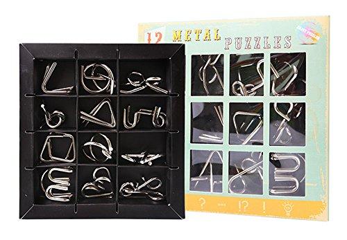 JasCherry 12 Piezas Juguetes Mágicos de Alambre de Metal Set - 3D Rompecabezas del Cerebro del Metal Juego Puzle - Juego Ideales y Regalos para Niños y Adolescentes