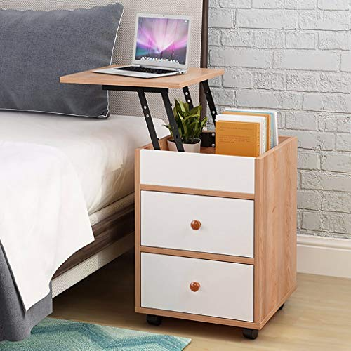 Wooden White Bedside Table Bedroom Lifting Side Table with 2 Drawers,Industrial Nightstand Storage Cabinet Organizer Small Modern End Table for Bedroom Living Room Office,Wood Color (Yellow Pear Wood)