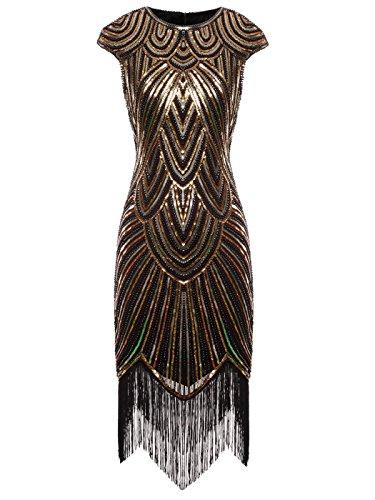 Fairy Couple 1920er-Flapper-Kleid mit Paillettenverzierung und Quastensaum FD20S002 Gr. X-Large, Ein schwarzes Gold
