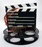 Hollywood Studio Clapboard & Reel Centerpiece - Black