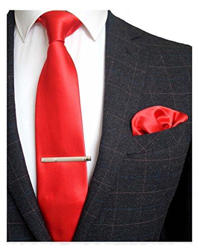 JEMYGINS Rot Krawatten und Einstecktuch Set für Herren seide Krawatte krawattenklammer Seidenkrawatten Hochzeit Schlips (5)