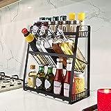 Homease Gewürzregal Schwarz Stehend 3-Ebene Organizer Große Kapazität Küche Veranstalter, Kann Gewürzflaschen, Ölflaschen, Gewürzregal für Küche, Speisekammer Lagern