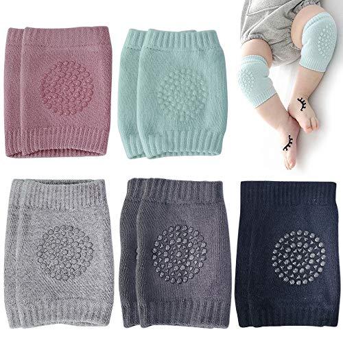 CENRONG Rodilleras Bebe,5Pares Antideslizantes rodilleras bebe Protectores de rodilla de niños Calentador de piernas elástico para bebé,para Bebé 0 a 24 meses