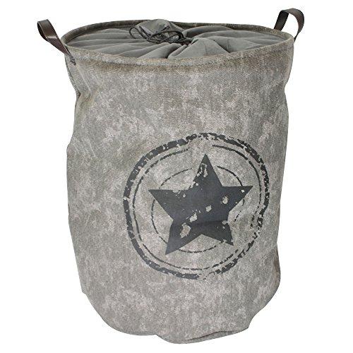 COM-FOUR® wasmand met handvatten - opvouwbare opbergmand met trekkoordsluiting - waszak met een moderne vintage look (01 delig - grijs/vintage)
