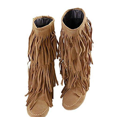 Zeagoo Winter Damen Bootsschuhe Fransen Stiefel Stiefeletten
