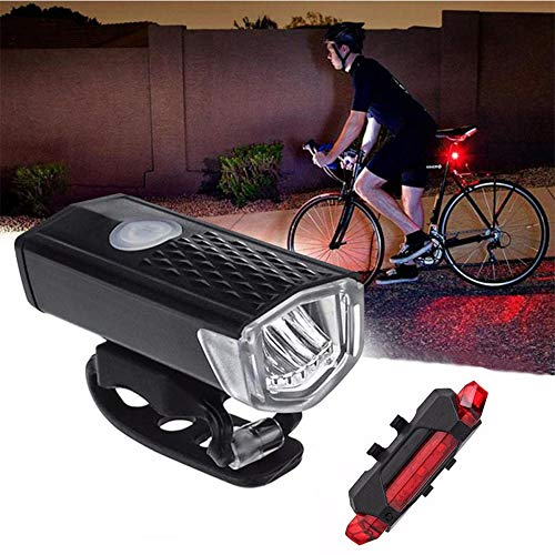 Mrttunn Bike Light USB Rechargeable, LED Bicycle Headlight Front and Back Rear Tail Lights, Waterproof, Easy to Install for Men Women Kids Cycling Safety Flashlight (Black White)