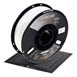 OVERTURE TPU High Speed Filament 1.75mm Flexible TPU Roll with 200 x 200 mm Soft 3D Printer Consumables, 1kg Spool (2.2 lbs.), Dimensional Accuracy +/- 0.05 mm, 1 Pack (White)