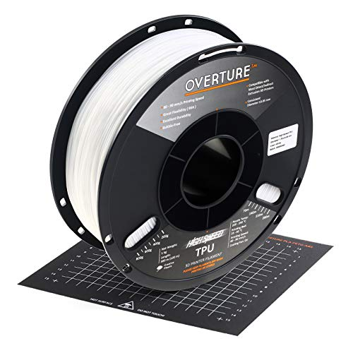 OVERTURE TPU High Speed Filament 1.75mm Flexible TPU Roll,1kg Spool (2.2lbs),3D Printer Consumables,Dimensional Accuracy 99% Probability +/- 0.03mm, Fit Most FDM Printer,1 Pack (White)