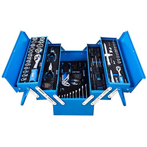DeTec. Blue Edition Werkzeugkasten gefüllt mit Werkzeug - 67tlg. Sortiment - blau