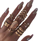 Edary Vintage Carved Joint Knuckle Rings Crystal Rings Set Gold Stackable Rings for Women and Girls(13PCS)
