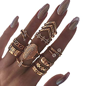 Edary Vintage Ring Set Carved Knuckle Rings Crystal Rings Set Gold Stackable Rings Midi Rings Finger Jewelry for Women and Girls 13PCS