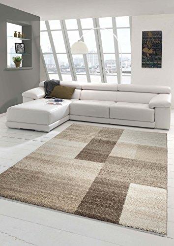 Designer Teppich Moderner Teppich Wohnzimmer Teppich Kurzflor Teppich Barock Design Meliert Braun Beige Größe 60x115 cm