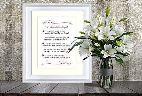 Für meinen lieben Papa - liebevoll gestalteter Kunstdruck als Geschenk für den Papa - 24 x 30 cm mit Passepartout - ohne Rahmen, lieber Papa, bester Papa, Geschenk Papa