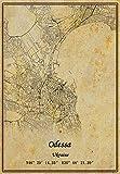 Ukraine Odessa Map Wall Art Poster Canvas Print Vintage