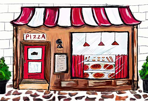 AOSTO 6.5x5ft Pizza Shop Photo Background Newborn Baby Shower Cake Table Decorations Banner Kids Birthday Party Photo Backdrop Studio Props W-3668