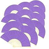 Woohome 15 Pz Ventilador de Papel de Bambú Plegable Mano Ventilador para Decoraciones de Bodas, Fiestas, Bailes, DIY (Púrpura)
