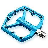 ROCKBROS Pedali per Bicicletta MTB in Alluminio Pedali Bici Ciclismo 9/16 Pollici Universali Superficie Larga CNC Taglio Ultra-Leggero Anodizzazione Antiscivolo (Blu)