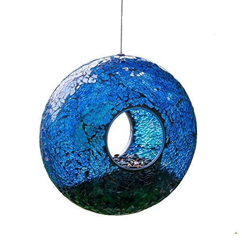 Fly Through Wild Bird Feeder Garden Hanging Bird Feeder Mosaic Circle for Outdoor Decoration,Blue
