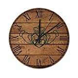 Pealrich 25 x 25 cm, silencioso, no hace tictac, reloj de pared rústico celta Cladda, reloj redondo, para casa, oficina, aula, escuela, fácil de leer