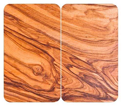 WENKO Protège-plaques de cuisson Universal Chalet, set de 2, recouvrement de plaque pour tous les types de cuisinières, verre trempé, 30 x 52 cm, multicolore