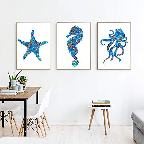 MXK Pulpo Náutico Vintage Carteles e Impresiones Pulpo Kraken Azul, Caballito de mar Cuadro en Lienzo Cuadro Baño rústico Decoración de Arte de Pared 40x60cm Sin Marco