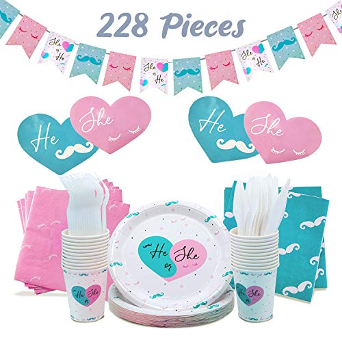 Baby Gender Reveal Party Supplies Kit For Baby Boy Or Girl, Gender Reveal Decorations Boy or Girl Balloon, Gender Reveal Plates, Baby Reveal Props, Gender Reveal Party Decorations, Baby Shower, 228 pc