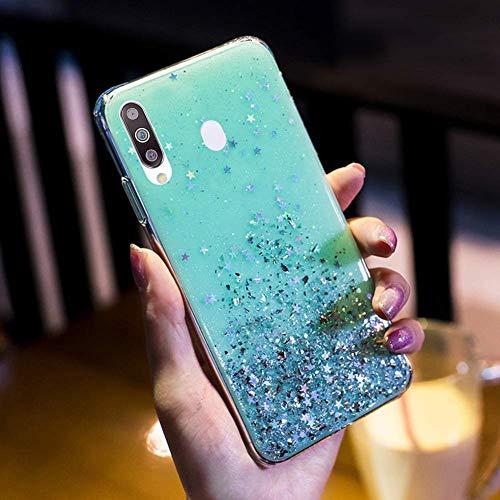 Uposao Kompatibel mit Samsung Galaxy M30 / A40S Hülle Glänzend Glitzer Strass Diamant Sterne Transparent TPU Silikon Handyhülle Weiche Dünn Durchsichtig Schutzhülle Tasche Crystal Case,Grün