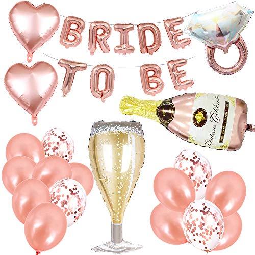 Feelairy Addio al Nubilato Gadget con Bride to be Palloncini Banner in Oro Rosa, Palloncini Giganti Cottiglia di Champagne, Palloncini Coriandoli per Un Party Notturno di Gallina Confezione