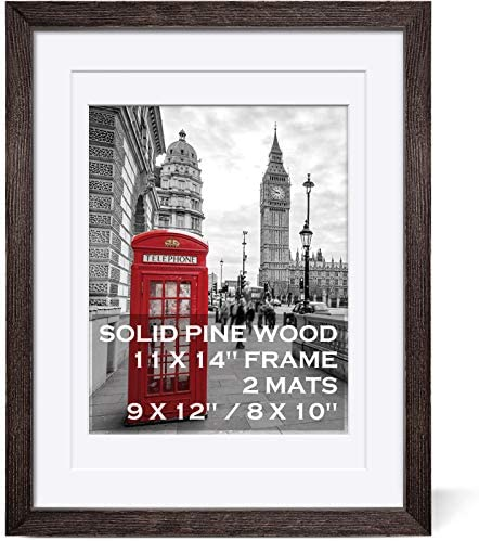 11x14 Rustic Picture Frames Solid Wood Display Pictures 9x12 or 8x10 with Mat or 11x14 Frame product image