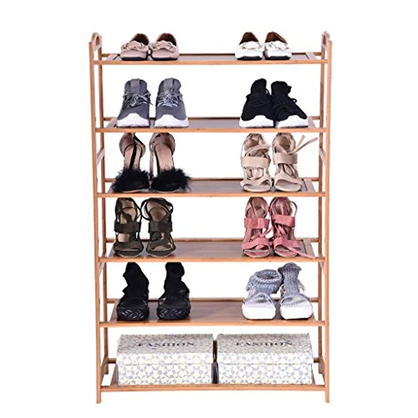 Ama-store Bamboo 6-Tier Shoe Rack Shoe Shelf Storage Organizer Holds Up to 18 Pairs,Ideal for Entryway Hallway Bathroom Garden, 27.2x9.8x41.7in Brown