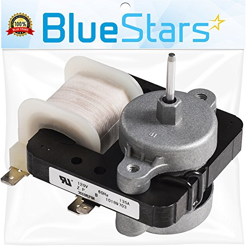 [UPGRADED] Ultra Durable W10189703 Refrigerator Evaporator Fan Motor by Blue Stars - Exact Fit for Whirlpool Maytag Kenmore Refrigerators - Replaces WPW10189703 W10208121 2219647