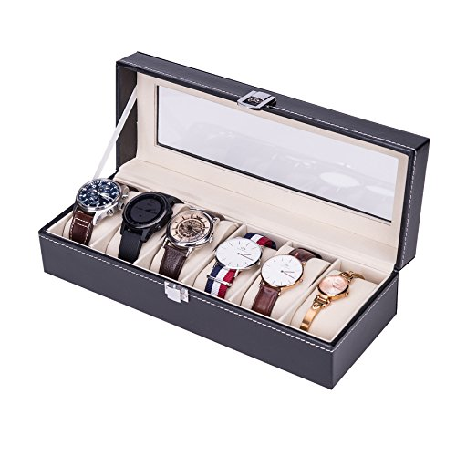 CO-Z Black Faux Leather Display Box Jewelry Box for Men and Women, 6-Slot...