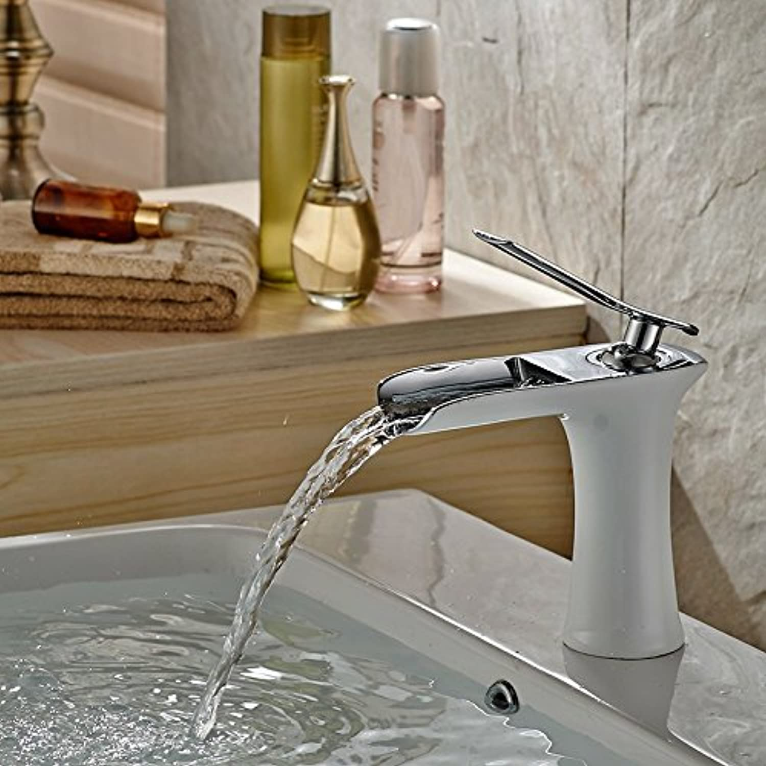 Hlluya Professional Sink Mixer Tap Kitchen Faucet Table basin faucet and cold water high, lengthen the copper water cage head toilet basin washbasin, grilled white paint low