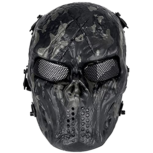 AQzxdc Mens Skull Paintball Mask, Full Face Paintball Tactical Metal Mesh Eye Protectical Maschere Traspiranti, per Halloween Paintball Cosplay Party BBS Shooting Masquerade Ball,Black Camouflage