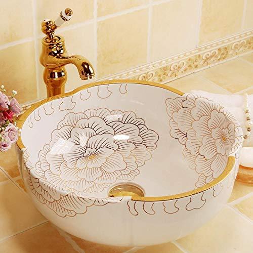 Jgophu Perchero para cuarto de baño, diseño vintage de estilo europeo, lavabo de cerámica, lavabo de porcelana, peonía