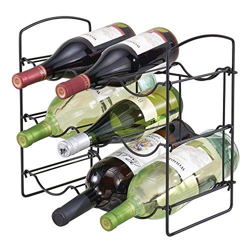 mDesign Weinregal, freistehend, aus Metall, für Küche, Arbeitsplatten, Speisekammer, Kühlschrank – für Wein, Bier, Pop/Soda, Wasserflaschen – 3 Ebenen, für 9 Flaschen Matte Black