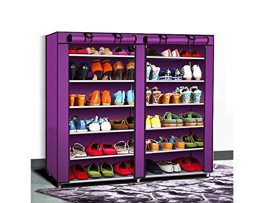 KongEU Zapatero multifuncional de 6 niveles con cubierta a prueba de polvo, estantes ajustables, organizador de armario con capacidad para 36 pares de zapatos, color morado