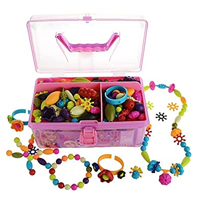 Gili Pop Beads, Jewelry Making Kit for 4, 5, 6, 7 Year Old Little Girls, Arts and Crafts Toys for Kids Age 4yr-8yr, Necklace Bracelet Creativity Snap Set, Top Best Christmas Birthday Gifts (500pcs)