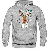 Shirt Happenz Christmas Hoodie #16 | Rentier | Weihnachten | Santa Claus | Nikolaus | Pullover |Kapuzenpullover |Pulli, Farbe:Graumeliert (Greymelange F421);Größe:M